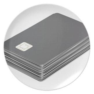 Stapel met lege plastic kaarten met spaander melamine+bord