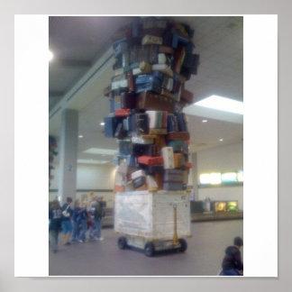 Stapel van Bagage bij de Luchthaven Californië van Poster