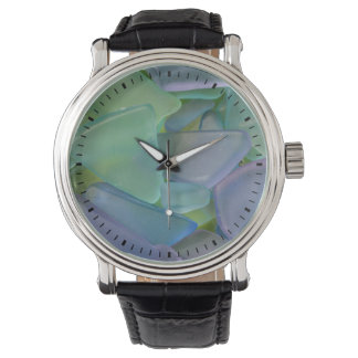Stapel van blauw strandglas, Alaska Horloge