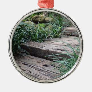 Stappen Zilverkleurig Rond Ornament