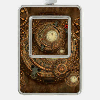 Steampunk, prachtig uurwerk verzilverd omlijst ornament