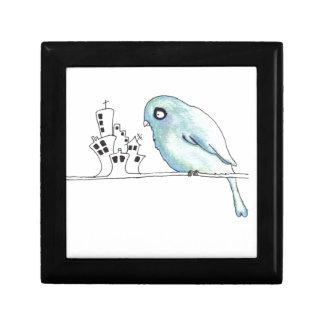 stedelijke blauwe vogel op een draad vierkant opbergdoosje small