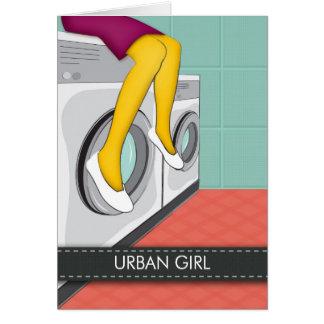 Stedelijke meisjeszitting in een wasserij in de kaart