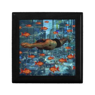Stedelijke zwemmers vierkant opbergdoosje small
