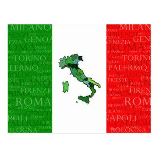 Steden, Kaart, en Vlag van Italië Briefkaart