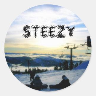 STEEZY SNOWBOARDING RONDE STICKER