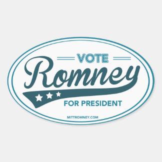 Stem Mitt Romney voor President Swoosh (Blauw Ovale Sticker