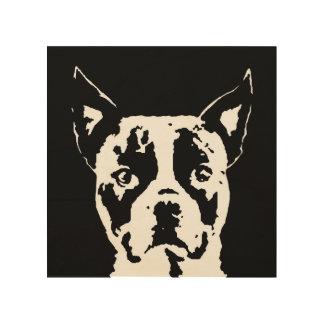 """Stencil Houten 8 """" x8"""" het Art. van Boston Terrier Hout Afdruk"""