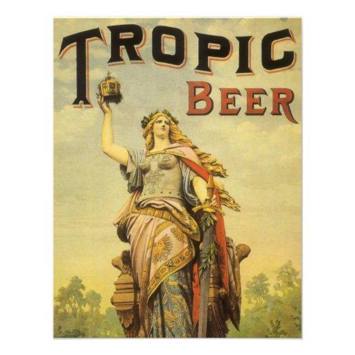 Stenen bierkroes van het Bier van de vintage van h Custom Uitnodigingen