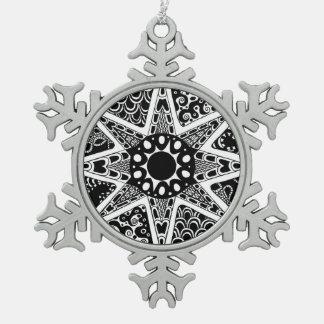 Ster zwart-wit design tin sneeuwvlok ornament