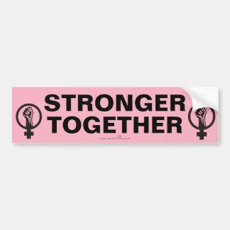 STERKER SAMEN, de slogan van Maart van Vrouwen. Bumpersticker