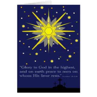 sterrige hemel met kruisen luke 2:14 kaart