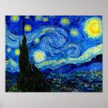 Sterrige Nacht door Van Gogh de Druk van het Fine Poster