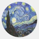 Sterrige Nacht door Vincent van Gogh 1889 Ronde Stickers