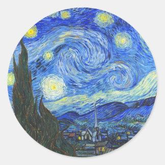 Sterrige Nacht door Vincent van Gogh Ronde Sticker