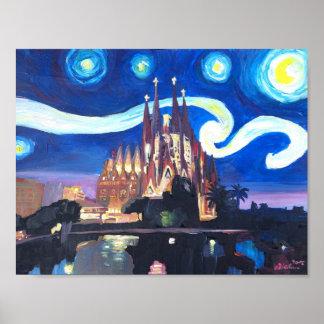 Sterrige Nacht in Barcelona met Sagrada Familia Poster