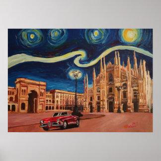 Sterrige Nacht in Milaan - Kathedraal met Oldtimer Poster