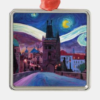 Sterrige Nacht in Praag met Carlsbridge Zilverkleurig Vierkant Ornament