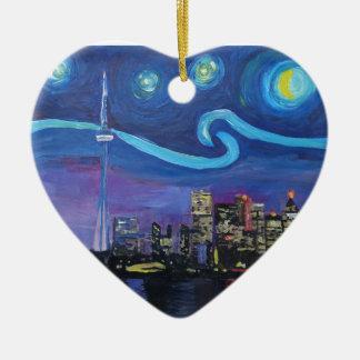 Sterrige Nacht in Toronto met Van Gogh Keramisch Hart Ornament