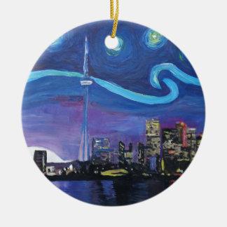 Sterrige Nacht in Toronto met Van Gogh Rond Keramisch Ornament