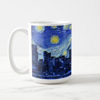 Sterrige Nacht over de Stad van New York Koffiemok