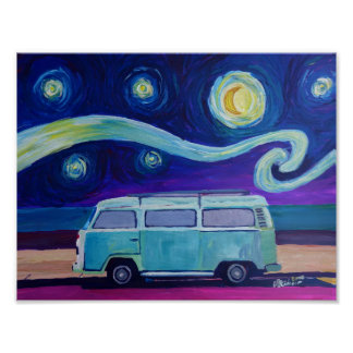 Sterrige nacht Surfbus bij strand Poster