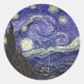 Sterrige Nacht, Vincent Bestelwagen Gogh. Ronde Sticker