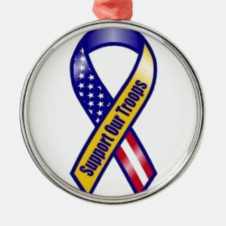 Steun-ons-troepen Zilverkleurig Rond Ornament