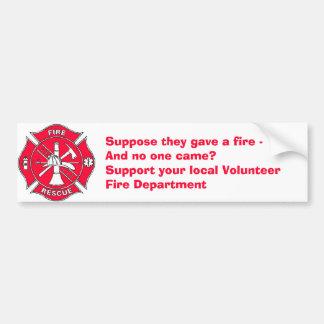 Steun uw lokaal VrijwilligersBrandweerkorps Bumpersticker