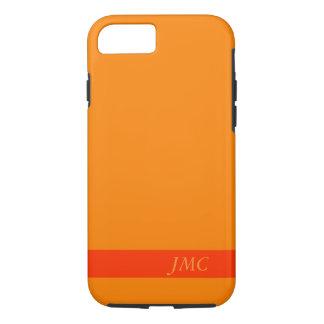 Stevige Oranje Initialen van het Monogram van de iPhone 7 Hoesje