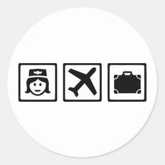 Stewardess Ronde Sticker