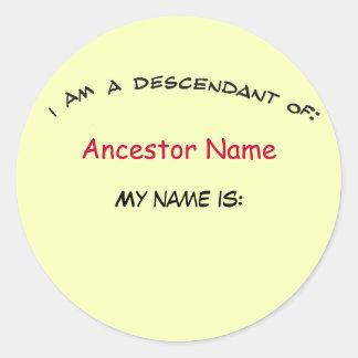 Sticker - Nakomeling van… (voorvader) Nametag