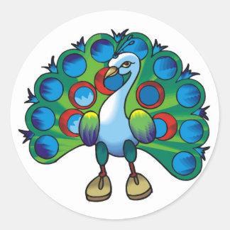 Sticker-pauw peafowl ronde sticker