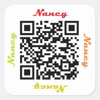 Sticker van de NAAM van Nancy QR de Code
