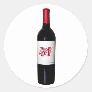 Stickers de met monogram van de Fles van de Wijn