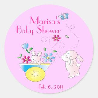 Stickers van het Baby shower van het konijntje de