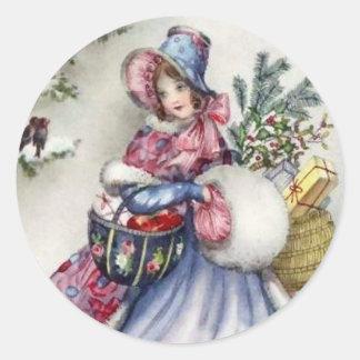 Stickers - winkelende dame vintage Robin van