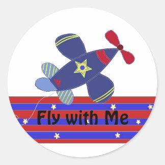 Stijgend Vliegtuig Ronde Sticker