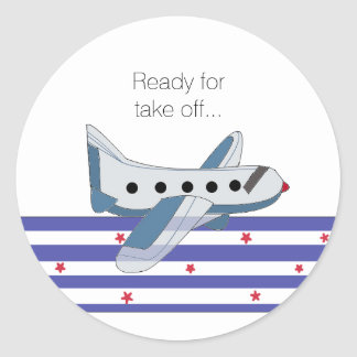 Stijgend Vliegtuig Ronde Stickers