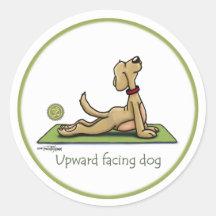 Stijgende Onder ogen ziende Hond - de yoga stelt Ronde Sticker