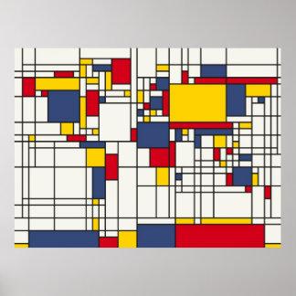Stijl Mondrian van de Kaart van de wereld de Poster