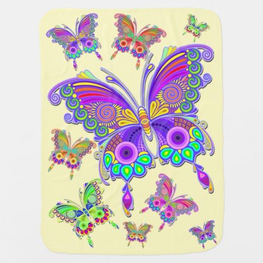 Stijl van het Tattoo van de vlinder de Kleurrijke Kinderwagen Dekentjes