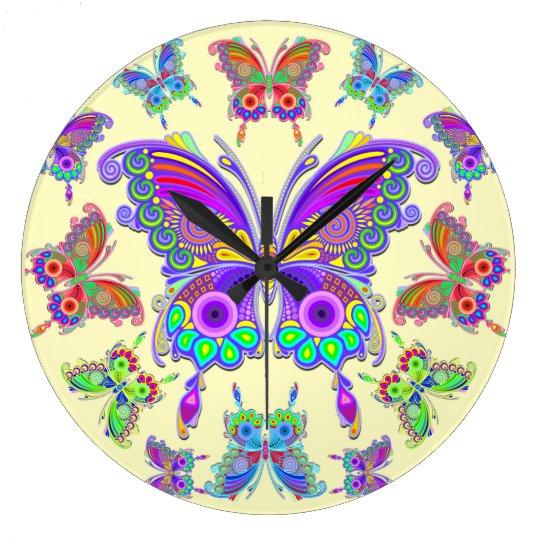 Stijl van het Tattoo van de vlinder de Kleurrijke Ronde Klok Large