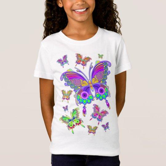Stijl van het Tattoo van de vlinder de Kleurrijke T Shirt
