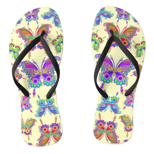 Stijl van het Tattoo van de vlinder de Kleurrijke Teenslippers
