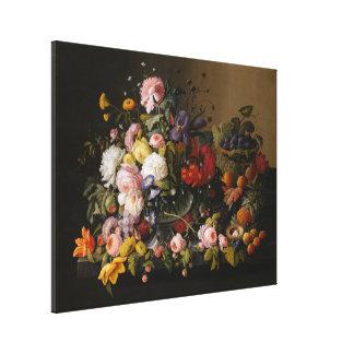 Stilleven: Bloemen en Fruit door Severin Roesen Canvas Print