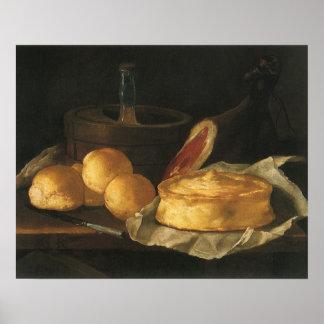 Stilleven met Scherp Brood en Ham, Giuseppe Recco Poster