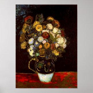 Stilleven met Zinnias Van Gogh Fine Art. Poster