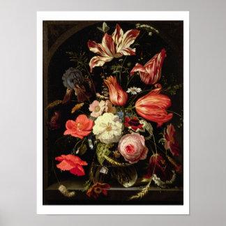 Stilleven van Bloemen op een Richel Poster