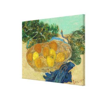 Stilleven van Sinaasappels en Citroenen met Blauw Canvas Print